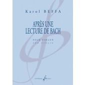 BEFFA K. APRES UNE LECTURE DE BACH VIOLON SOLO