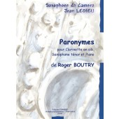 BOUTRY R. PARONYMES CLARINETTE, SAXOPHONE TENOR ET PIANO