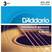 PACK DE 3 JEUX DE CORDES ACOUSTIQUES D'ADDARIO EJ16-3D PHOSPHORE BRONZE 12/53