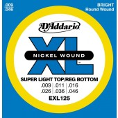JEU DE CORDES D'ADDARIO EXL125 SUPER LIGHT TOP/REG BOTTOM 9/46