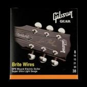 JEU DE CORDES GUITARE ELECTRIQUE GIBSON BRITE WIRES SEG-700SUL 008-038