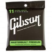 JEU DE CORDES ACOUSTIQUE GIBSON SAG-MB11 11/52 MASTERBUILT PREMIUM ULTRA LIGHT