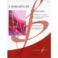 BURGMULLER F. 20 PETITES ETUDES VOL 2 CLARINETTE