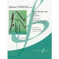 STRAUSS J. UNTER DONNER UND BLITZ 4 CLARINETTES
