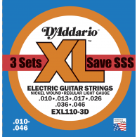 PACK DE 3 JEUX DE CORDES D'ADDARIO REGULAR JEUX LIGHT EXL110-3D