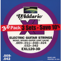 PACK DE 3 JEUX DE CORDES D'ADDARIO REGULAR 3 JEUX SUPER LIGHT EXL120-3D