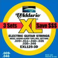PACK DE 3 JEUX DE CORDES D'ADDARIO REGULAR 3 JEUX SUP LIGHT TOP REG BOTT EXL125-3D