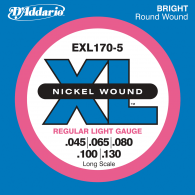 JEU DE CORDES BASSE D'ADDARIO EXL170-5 FILE ROND NICKEL