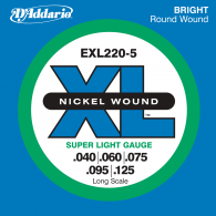 JEU DE CORDES BASSE D'ADDARIO EXL220-5 FILE ROND NICKEL