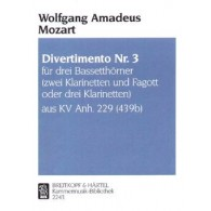 MOZART W.A. DIVERTIMENTO KV ANH 229 N°3 CLARINETTES