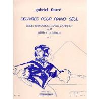 FAURE G. ROMANCE SANS PAROLES OP 17 N°3 PIANO