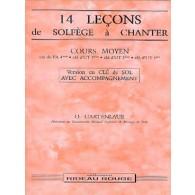 GARTENLAUB O. 14 LECONS DE SOLFEGE A CHANTER CLE SOL MOYEN