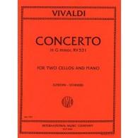 VIVALDI A. CONCERTO EN SOL MINEUR 2 VIOLONCELLES PIANO