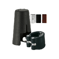 LIGATURE CLARINETTE SIB SYSTEME ALLEMAND VANDOREN CUIR AVEC COUVRE BEC PLASTIQUE