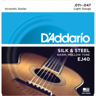 JEU DE CORDES ACOUSTIQUE D'ADDARIO EJ40 FILE ROND LIGHT 11/47