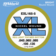 JEU DE CORDES BASSE D'ADDARIO EXL165-5 FILE ROND NICKEL 45/135