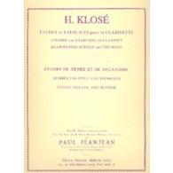 KLOSE H.E. ETUDES DE GENRE ET DE MECANISME CLARINETTE