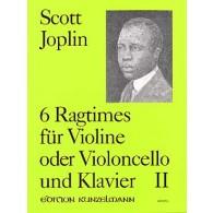 JOPLIN S. 6 RAGTIMES VOL 2 VIOLON/VIOLONCELLE