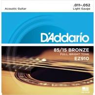 JEU DE CORDES ACOUSTIQUE D'ADDARIO EZ910 BRONZE 11/52