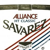 JEU DE CORDES GUITARE CLASSIQUE SAVAREZ 540ARJ ALLIANCE ROUGE/BLEU TIRANT NORMAL/FORT